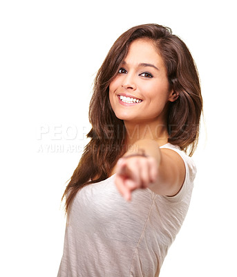 Buy stock photo Studio portrait of a gorgeous young woman smiling and pointing at the camera