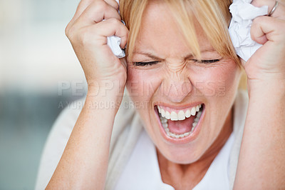 Buy stock photo A businesswoman giving a frustrated scream