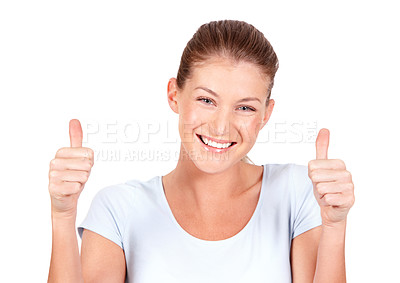 Buy stock photo A lovely young woman giving you two thumbs ups while isolated on a white background