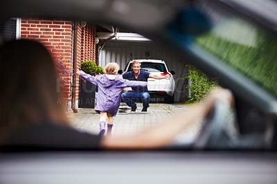 Buy stock photo Shot of a little girl running towards her father