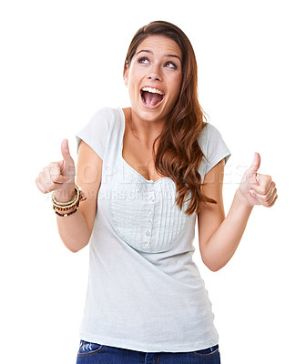 Buy stock photo A gorgeous young woman giving an enthusiastic thumb's up