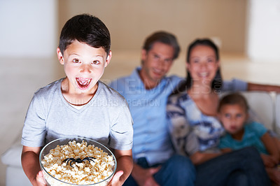 Buy stock photo A family playing a prank at halloween