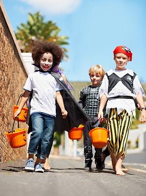 Buy stock photo Shot of children on halloween