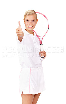 """Buy stock photo Portrait of a positive looking young woman showing you the """"thumbs up"""" while holding her tennis racquet"""