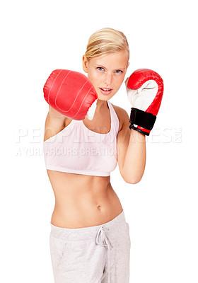 Buy stock photo Shot of a beautiful female boxer