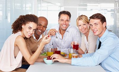 Buy stock photo Cropped shot of business colleagues in the office