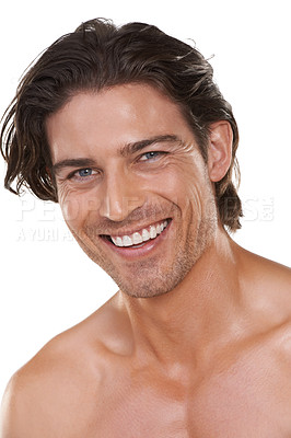 Buy stock photo Cropped head and shoulders portrait of a handsome man smiling