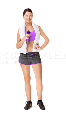 Buy stock photo Full length portrait of a fit young woman in gym clothing holding a water bottle isolated on white