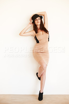 Buy stock photo Portrait of a young brunette woman isolated on white