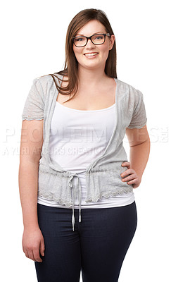 Buy stock photo Shot of a beautiful plus size model isolated on white