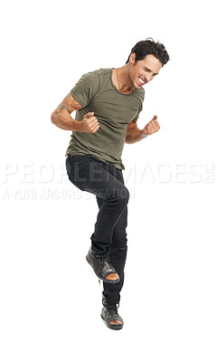 Buy stock photo A handsome young man jumping with excitement