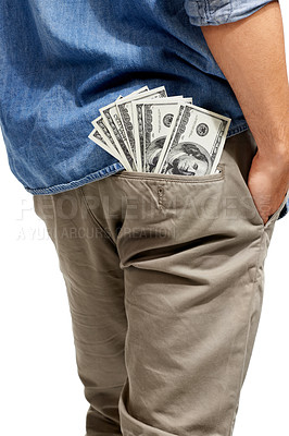 Buy stock photo Cropped image of a wad of cash sticking out of a man's pocket
