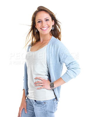 Buy stock photo Portrait of a smiling young woman posing against white background