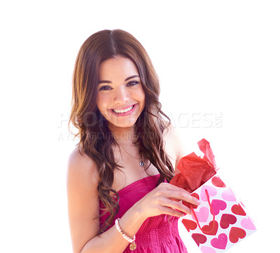 Buy stock photo Portrait of an attractive young woman opening her Valentine's Day gift