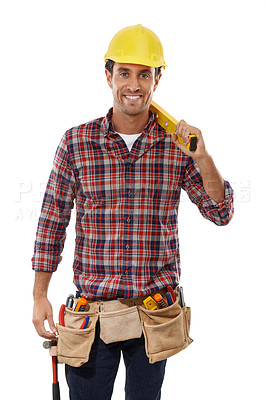 Buy stock photo Portrait of a handsome handyman