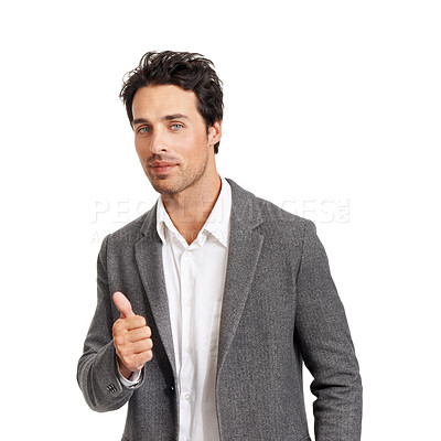 Buy stock photo Portrait of a handsome young businessman giving you a thumbs up