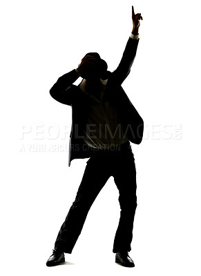 Buy stock photo Full length portrait of a young man dancing against white background