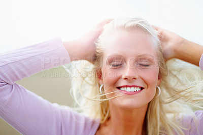 Buy stock photo Pretty blond woman at the country side with her eyes closed, isolated