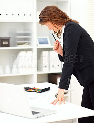Buy stock photo Business woman at work , in a thoughtful mood