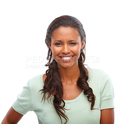 Buy stock photo Portrait of an African American woman smiling over white background
