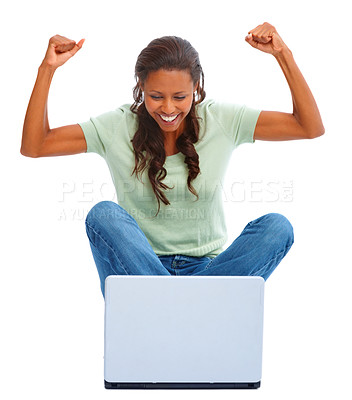 Buy stock photo Achievement - Happy young female with clenched fist working on a laptop over white