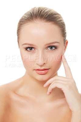 Buy stock photo Head and shoulders portrait of a pretty young woman isolated on white - skincare