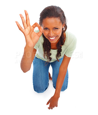 Buy stock photo Top view of an African American on knees gesturing against white background