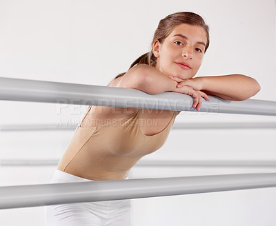 Buy stock photo A young ballet dancer looking at the camera