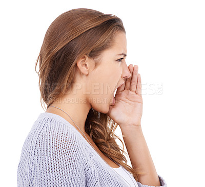 Buy stock photo A pretty young woman shouting at something while isolated on a white background