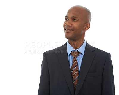 Buy stock photo Studio shot of a handsome ethnic businessman looking at copyspace
