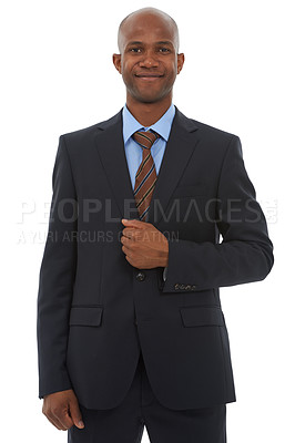 Buy stock photo A successful african american businessman isolated on a white background