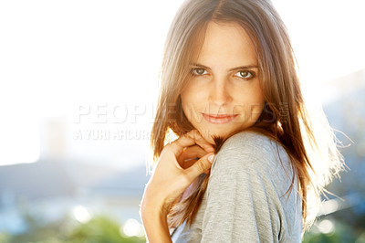 Buy stock photo Portrait of stunning young female model
