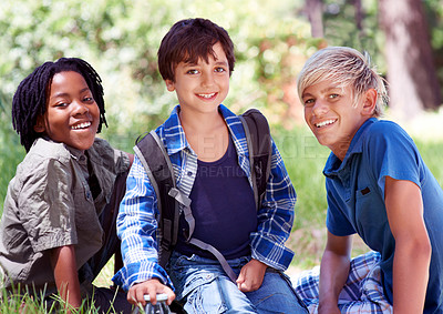 Buy stock photo Three little boys spending time outdoors together