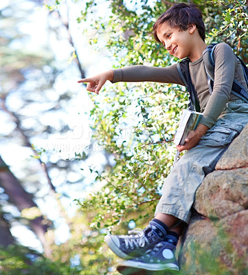 Buy stock photo A little boy with a book in his hand sitting on a rock and pointing towards something