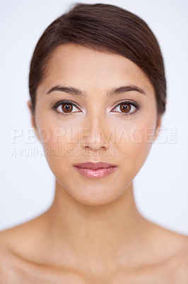 Buy stock photo Closeup portrait of a gorgeous young woman