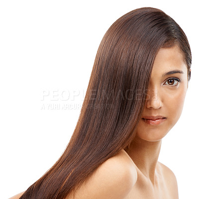 Buy stock photo A young woman with shiny hair against a white background
