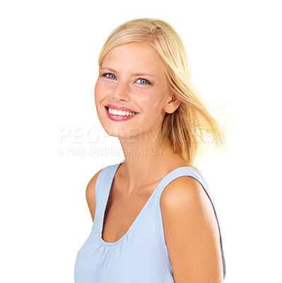Buy stock photo Studio portrait of an attractive young blonde woman wearing a dress