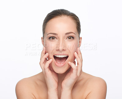Buy stock photo Cropped view of a naturally gorgeous young woman touching her skin