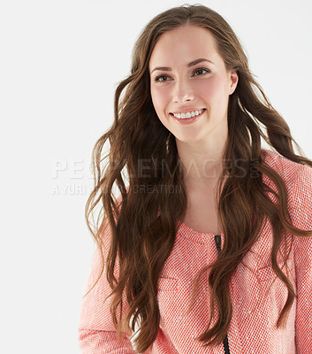 Buy stock photo Studio shot of an attractive young brunette woman