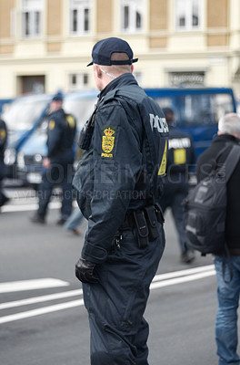 Buy stock photo Shot of police during a protest