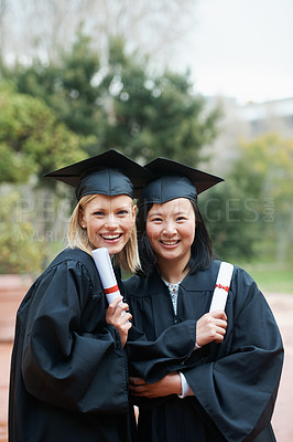 Buy stock photo Two friends in togas outside