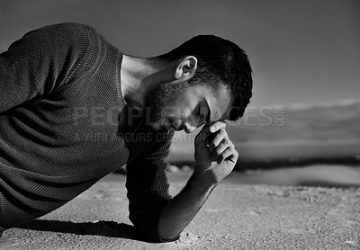 Buy stock photo A model posing on a sand dune