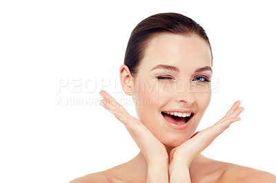 Buy stock photo Studio head and shoulders portrait of an attractive model isolated on white