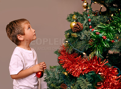 Buy stock photo A young boy decorating a Christmas tree
