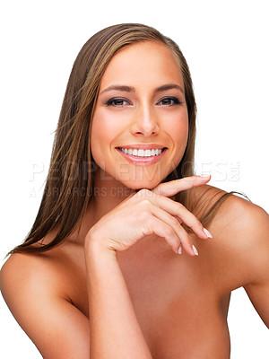 Buy stock photo Studio portrait of beautiful brunette women isolated on white