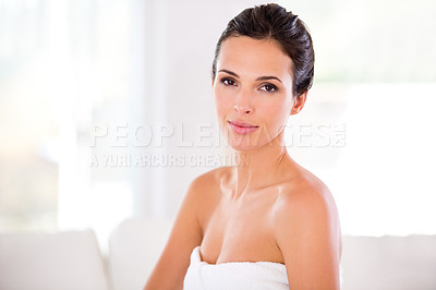 Buy stock photo Portrait of a beautiful young woman with perfect skin