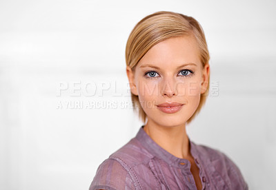 Buy stock photo Portrait of a beautiful young woman dressed for the office
