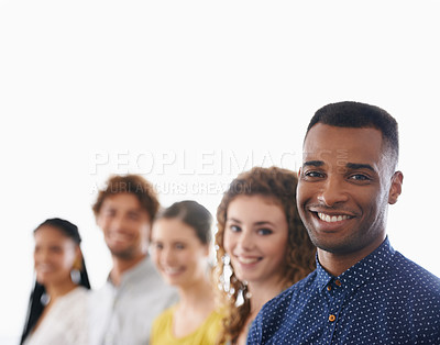 Buy stock photo Cropped shot of a group of smiling work colleagues