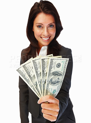 Buy stock photo Cheerful young business woman holding cash and smiling