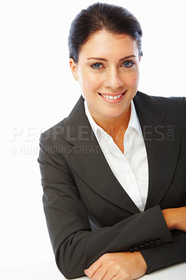 Buy stock photo Elegant young business woman with hands folded over white background
